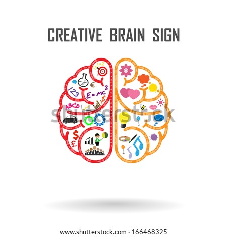 Creative left and right brains Idea concept .vector illustration - stock vector