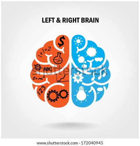Creative left brain and right brain Idea concept background .vector illustration - stock vector