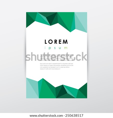 creative letterhead template document in low polygon style green colorful modern triangular geometric composition design
