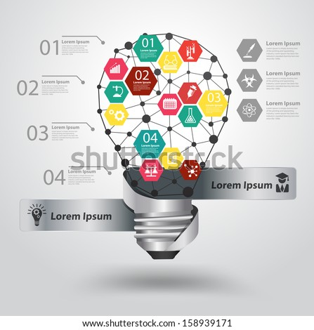 Creative light bulb abstract infographic hexagon modern design template workflow layout, diagram, step up options with chemistry and science icon, Vector illustration modern design template - stock vector