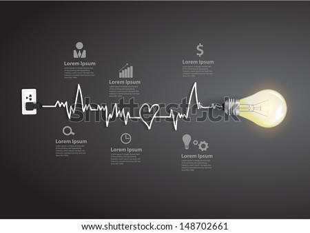 Creative light bulb abstract infographic modern design template workflow layout, diagram, step up options - stock vector