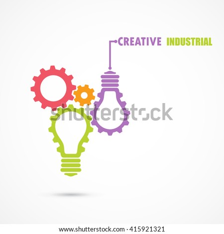 Creative light bulb and gear abstract vector design banner template. Corporate business industrial creative logotype symbol. Business and industrial concept.Vector illustration - stock vector