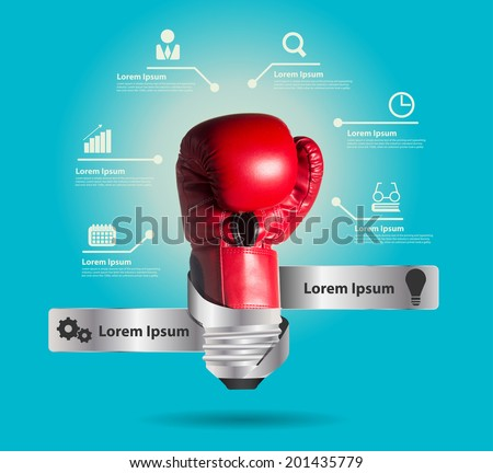 Creative light bulb and powerful ideas business with glowing boxing glove, Inspiration concepts modern design template workflow layout, diagram, step up options, Vector illustration - stock vector