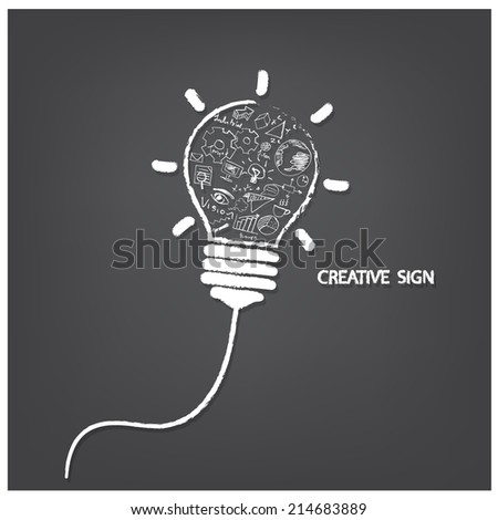 Creative light bulb handwriting style with business idea concept, education concept. Vector illustration - stock vector