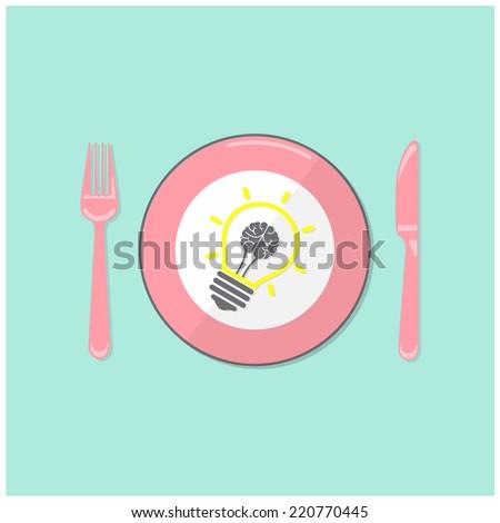 Creative light bulb idea and brain concept background ,business concept.Vector illustration - stock vector