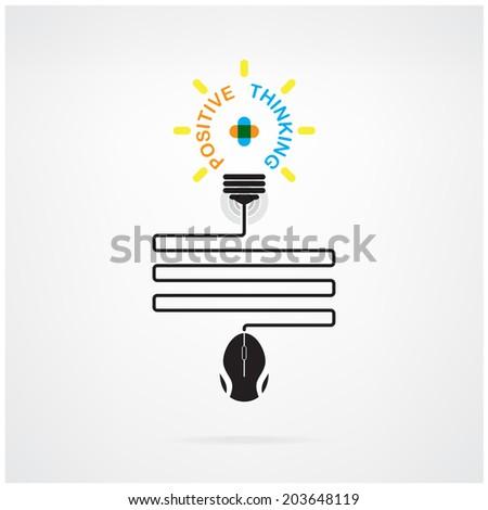 Creative light bulb idea and positive thinking concept, business idea, abstract symbol, education concept.vector illustration  - stock vector