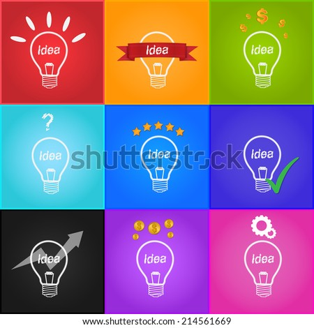Creative Light Bulb Idea, Idea Icons Set, Business Idea Concept, Dollar Sign, Question mark Icon, Star Icons, Check Icon, Gear Icon, Arrow Icon. Vector Illustration.
