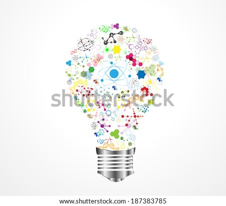 Creative light bulb idea medical DNA with chemistry and science icon education concept, Vector illustration eps10