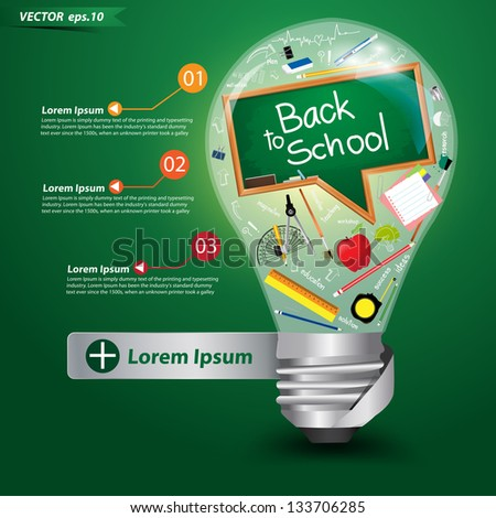 Creative light bulb idea with back to school concept, Vector illustration template design - stock vector