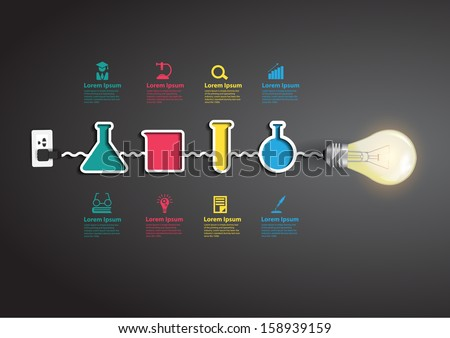 Creative light bulb idea with chemistry and science icon education concept, Vector illustration modern design template, workflow layout, diagram, step up options - stock vector