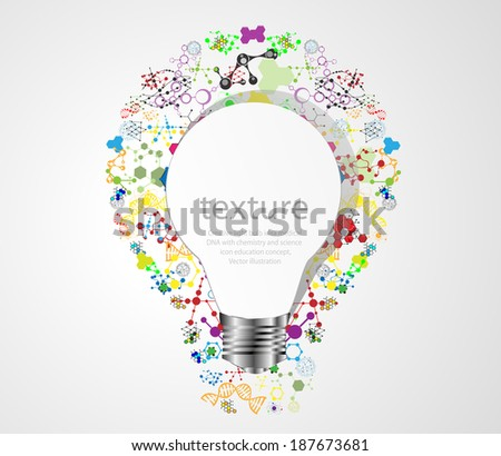 Creative light bulb idea with chemistry and science icon education concept, Vector illustration