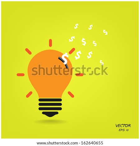 creative light bulb,saving sign,ideas concepts,business background.vector illustration - stock vector
