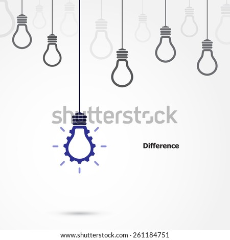 Creative light bulb symbol with gear sign and difference concept, business and industrial  idea. Vector illustration - stock vector