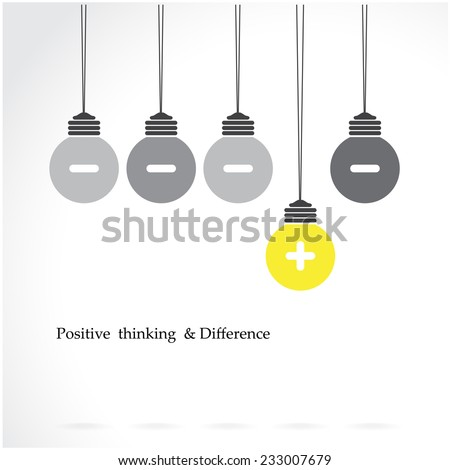 creative light bulb symbol with positive thinking and difference concept, business idea. Vector illustration - stock vector