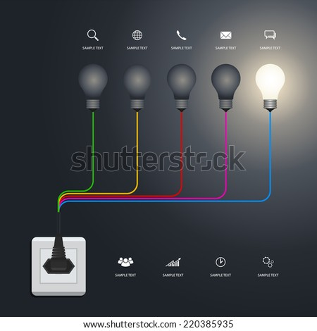 Creative light bulb. Vector infographic idea for template design. - stock vector