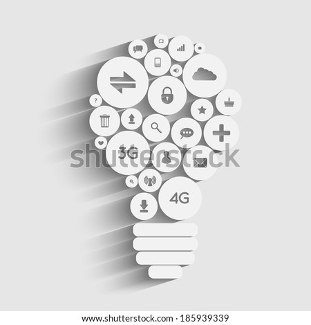 Creative light bulb with applications icons inside - stock vector