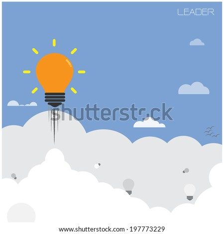 creative light bulb with blue sky background ,design for poster flyer cover brochure,leader and education concept ,business idea.vector illustration  - stock vector