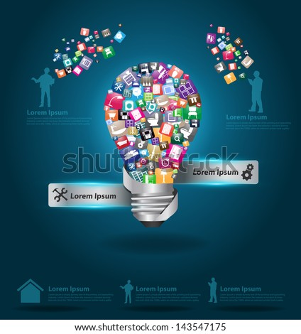 Creative light bulb with cloud of colorful home appliances icons, Home improvement and decoration service concept, Vector illustration modern template design - stock vector