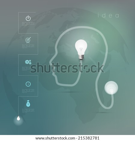 Creative light bulb with drawing business strategy plan concept idea  - stock vector