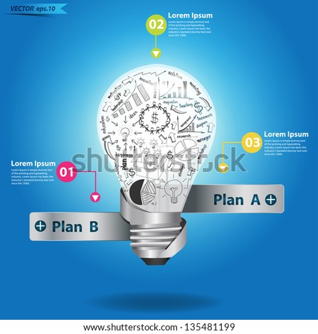 Creative light bulb with drawing business strategy plan concept idea, Vector illustration Modern template Design  - stock vector