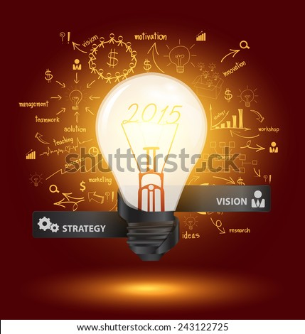 Creative light bulb with drawing charts and graphs business 2015 new year success strategy plan ideas, Inspiration concept modern design template diagram, step up options, Vector illustration - stock vector
