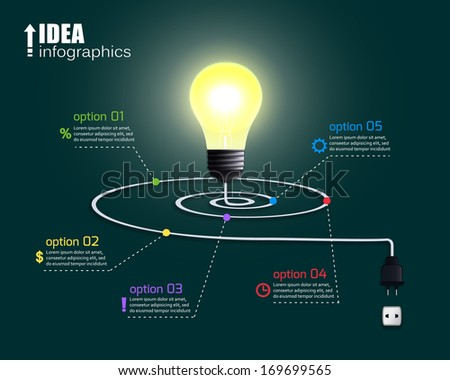 Creative light bulb with options and infographic elements vector illustration - stock vector
