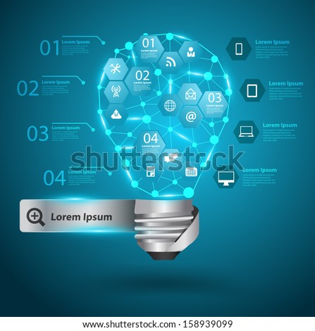 Creative light bulb with technology business network process diagram concept idea, Vector illustration modern template design, workflow layout, diagram, step up options - stock vector