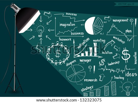 Creative lighting photography studio light, With drawing business strategy plan concept idea,  Vector illustration modern template design