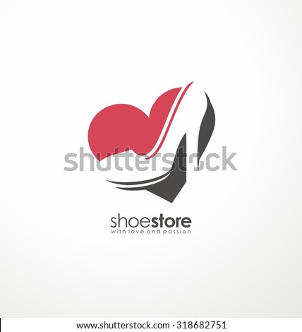 Creative logo design concept for shoe store. Unique symbol template with heart shape and high heels shoe in negative space. Icon layout. - stock vector