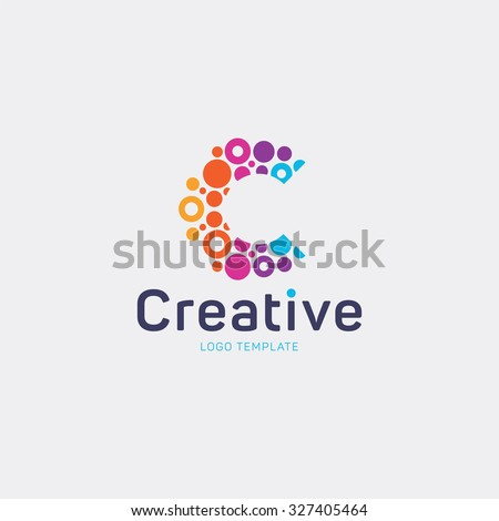 Creative Logo Design Letter C Abstract Vector Colorful Dots