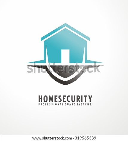 Creative logo design with house shape as part of the shield. Home security business symbol. Unique icon concept for insurance company or guard company. Simple unique idea. - stock vector