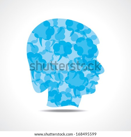 Creative male face of blue message bubble stock vector