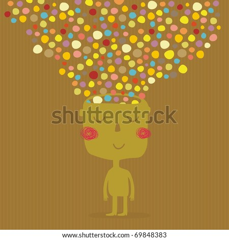creative man with wonderful colors out of his head - stock vector