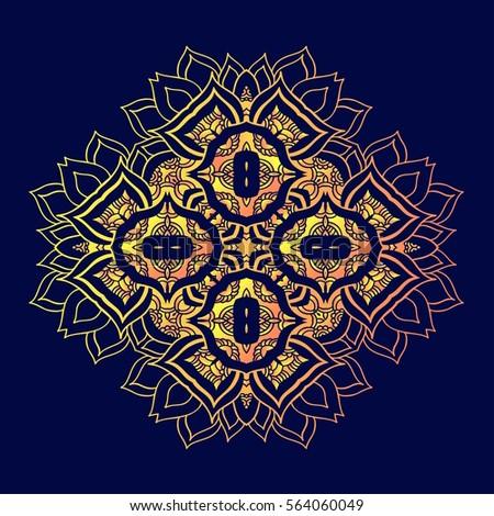 Mandala Round Ornament Pattern Geometric Circle Stock