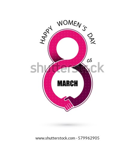 Creative 8 March logo vector design with international women's day icon.Vector illustration