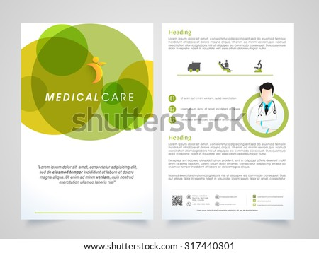 Creative Medical Care Brochure, Template or Flyer design with front and back side presentation. - stock vector