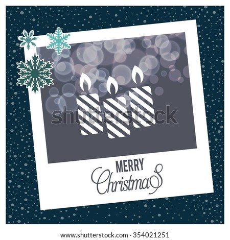 Creative Merry christmas candles, Christmas candle card,  photo frame with Snowflake border and creative typography in footer on glowing Vector background - stock vector