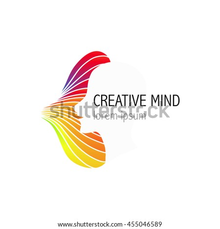 Creative mind, learning and design icon. Man head, people symbol. Vector illustration - stock vector