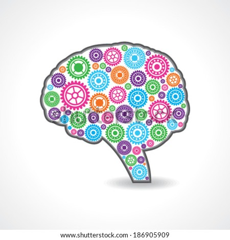 creative mind or brain with colorful gears stock vector - stock vector
