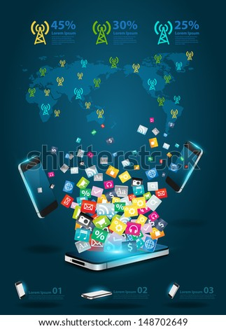 Creative mobile phones cloud of colorful application icon, Business software and social media networking online store service concept, Vector illustration modern template design