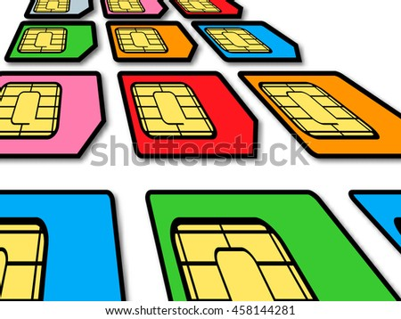Creative mobile telecommunication, wireless technology and mobility business communication internet concept: group of color SIM cards for mobile phone or smartphone isolated on white background - stock vector