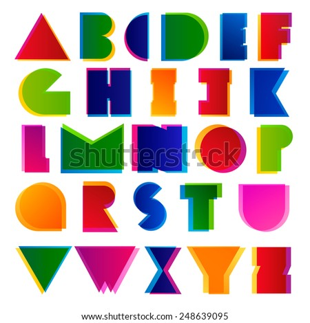 Creative modern colorful alphabet letters. Best for headers and posters design. - stock vector