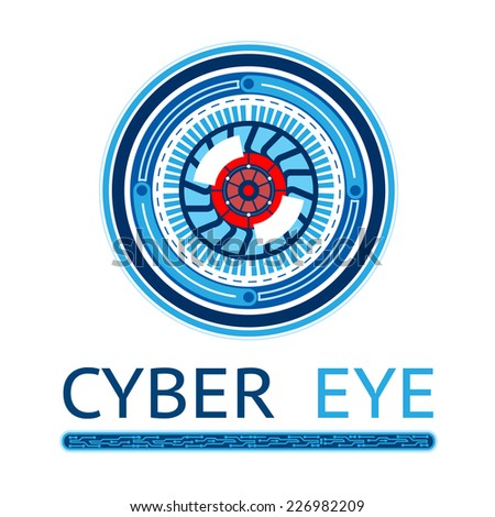 Creative Modern Cyber Eye Logo Graphic Design Isolated on White Background