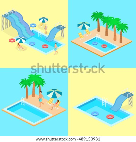 Creative modern isometric design of swimming pool. Vector infographic flat 3D illustration.