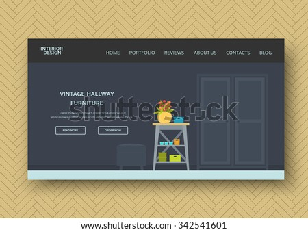 Creative modern lobby interior with comfort furniture: console table, pouffe, decor. Flat design. Horizontal banner on wooden pattern background. Vector illustration for your advertising - stock vector