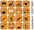 Creative monotone music icons on orange frame for web creative or decoration advertise. - stock vector