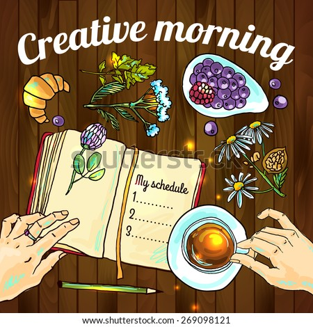 Creative morning food hand drawn illustration top view - stock vector
