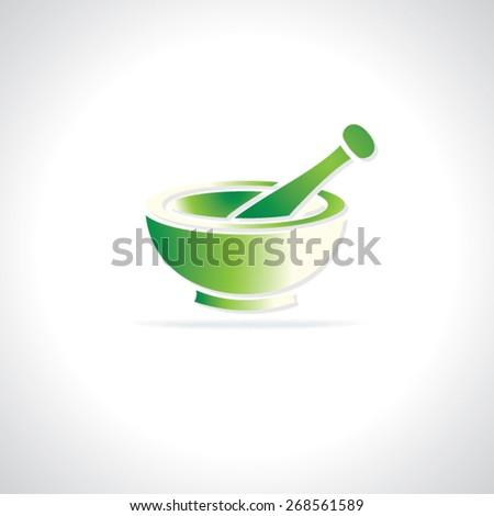 creative mortar pastel in green color  - stock vector