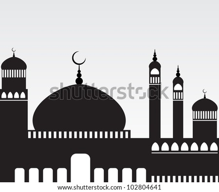 Creative Mosque Silhouette. Jpeg Version Also Available In Gallery. - stock vector