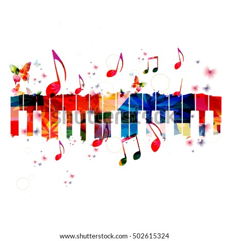 Creative Music Style Template Vector Illustration Colorful Piano Keys Instrument Background With
